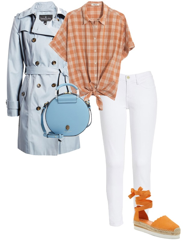 Orange and baby blue outfit combination | 40plusstyle.com