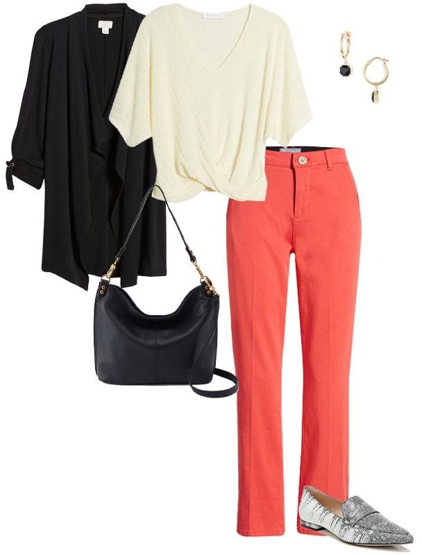 Pair orange with neutrals - black | 40plusstyle.com