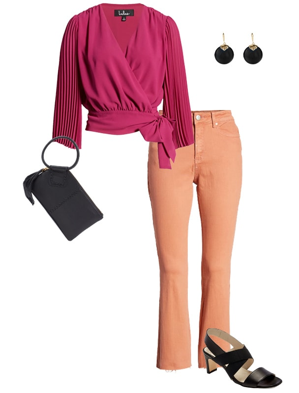 Pink and orange outfit combination | 40plusstyle.com