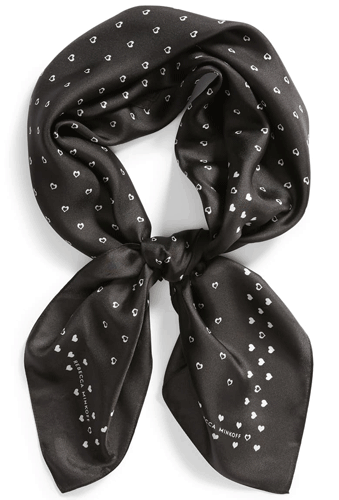 Classic clothes: Rebecca Minkoff hearts square silk scarf | 40plusstyle.com