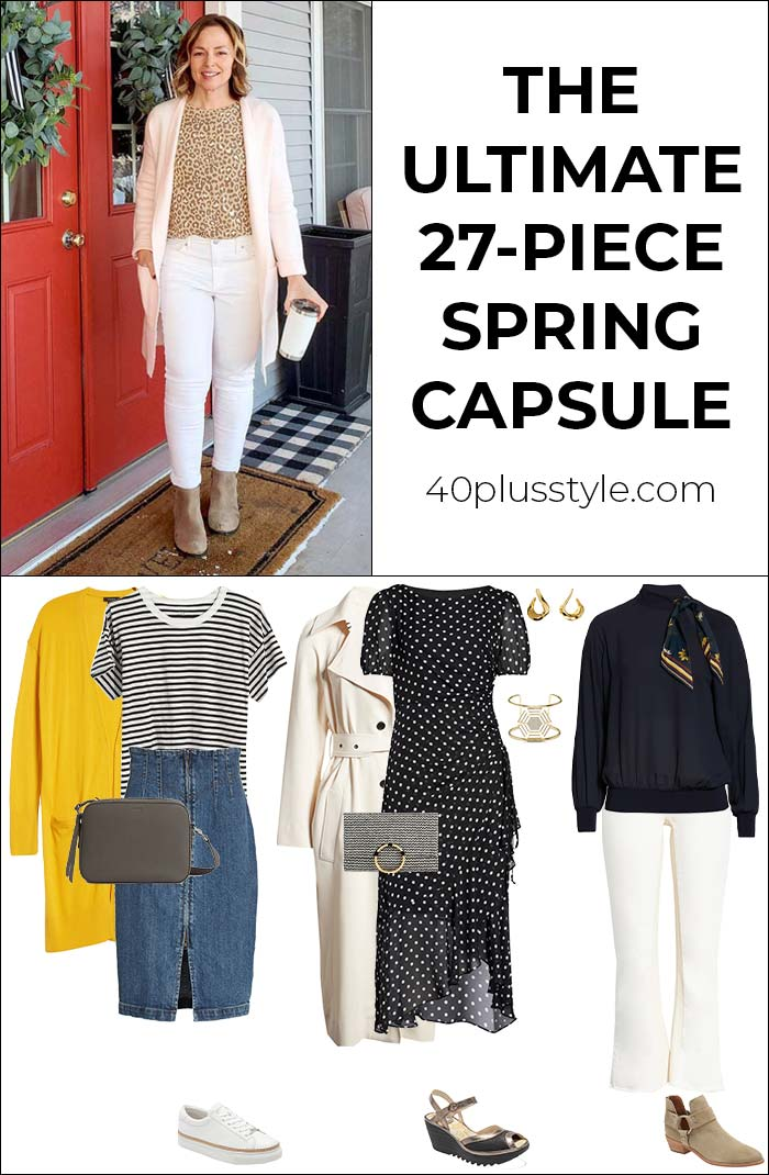 The ultimate 27-piece spring capsule wardrobe to create countless outfits | 40plusstyle.com