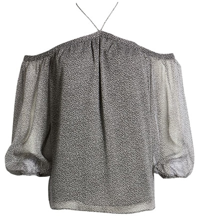tops to hide your tummy - 1.STATE off the shoulder chiffon blouse | 40plusstyle.com