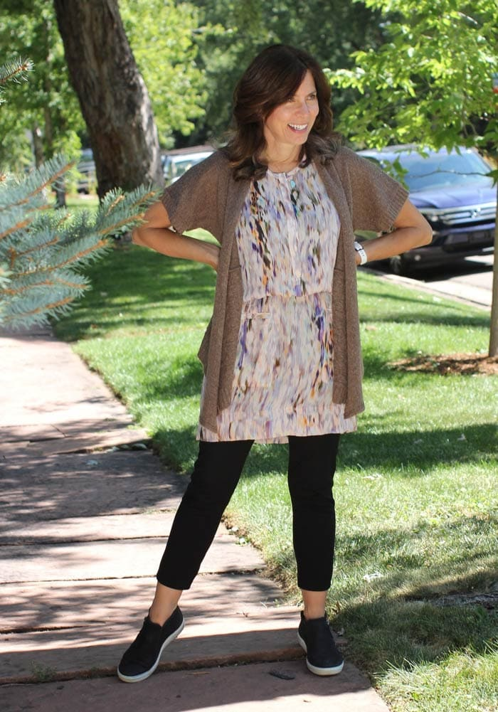 Ana wearing dress with crop pants   40plusstyle.com