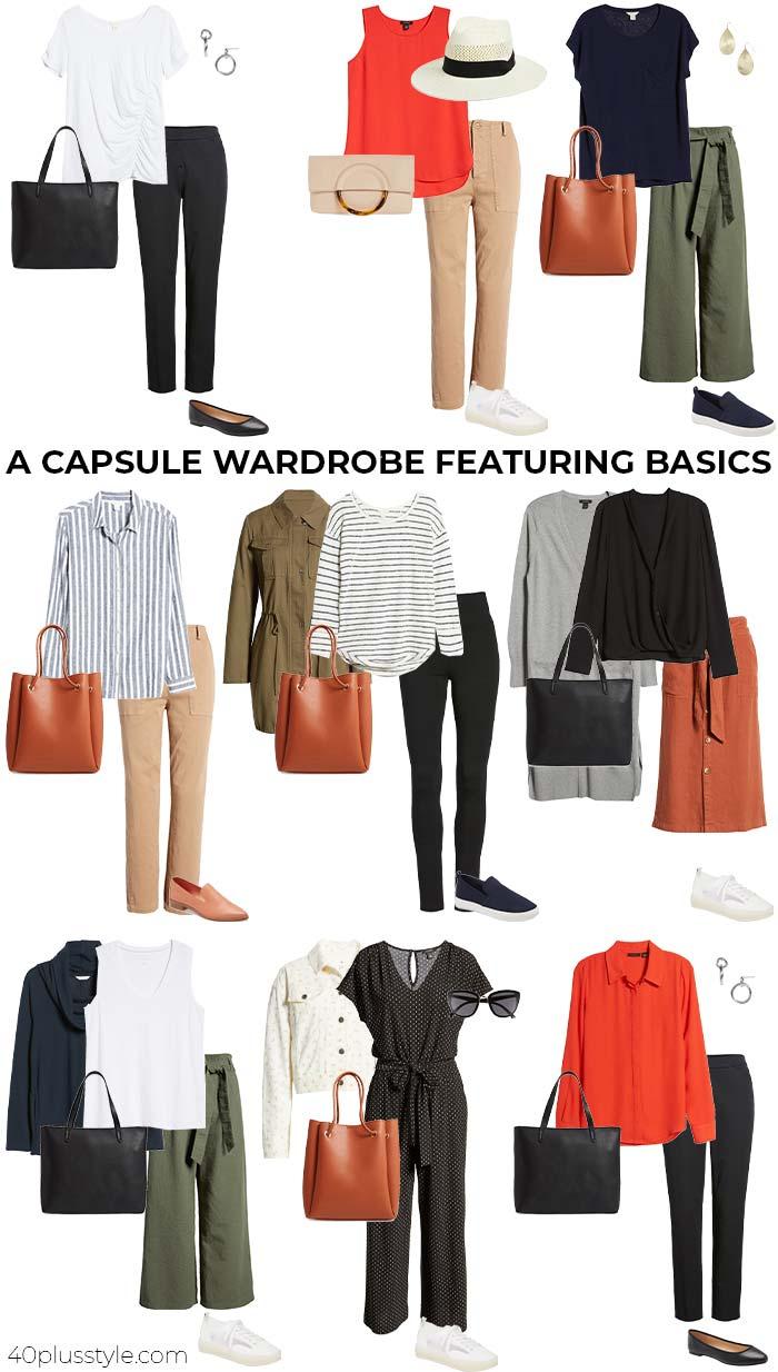 Capsule wardrobe featuring basics | 40plusstyle.com