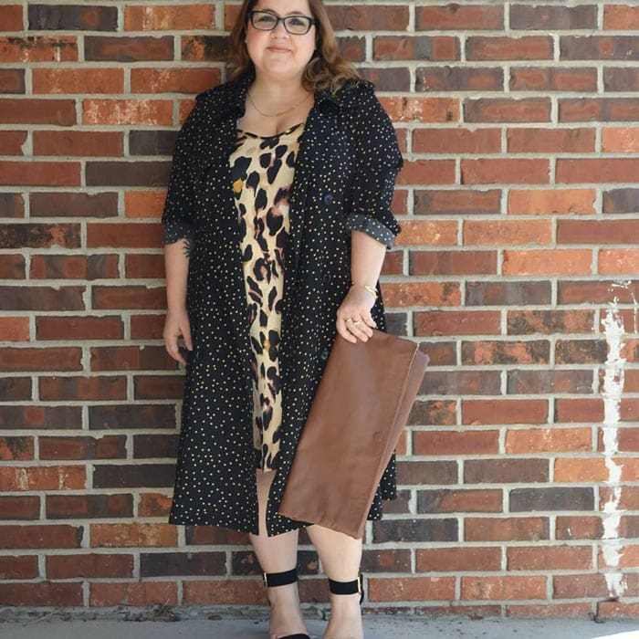 Polka dot coat with leopard print dress | 40plusstyle.com