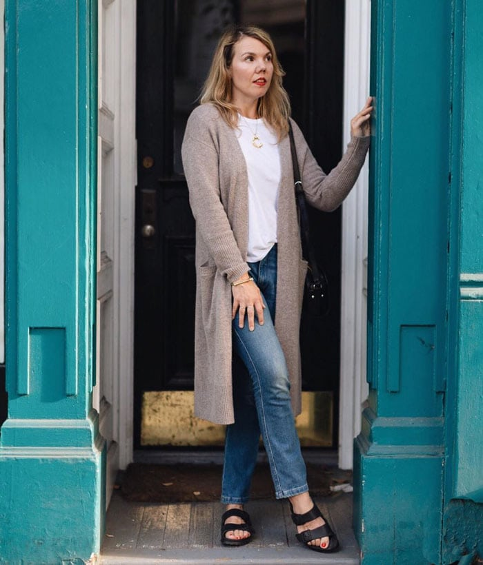 a long line cardigan outfit for the natural style personality | 40plusstyle.com