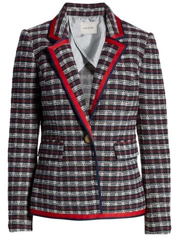 Court & Rowe plaid tweed blazer | 40plusstyle.com