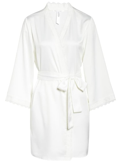 Flora Nikrooz satin robe to wear while your pamper yourself| 40plusstyle.com