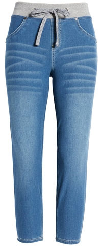 tie waist jeans by Hue   40plusstyle.com