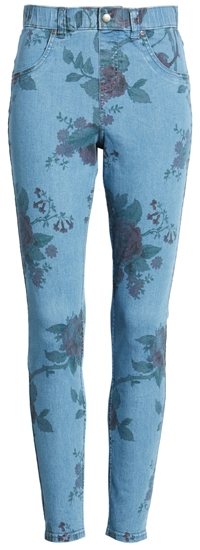 floral jeggings by Hue   40plusstyle.com