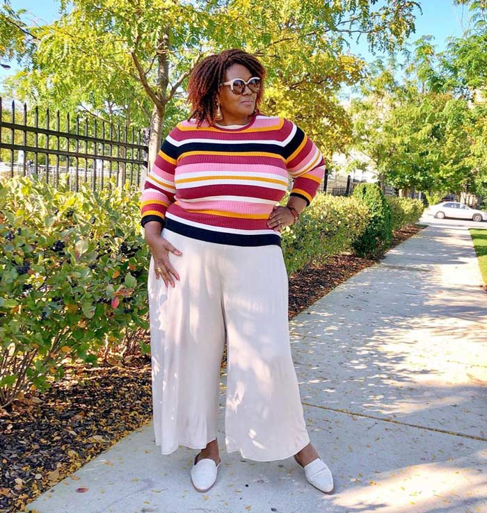 stripes and pants for the pear shape | 40plusstyle.com