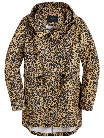 best raincoats for women - J.Crew leopard rain jacket | 40plusstyle.com
