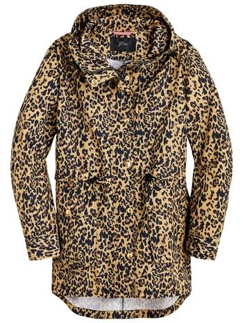 best raincoats for women - J.Crew leopard rain jacket | 40plusstyle.com
