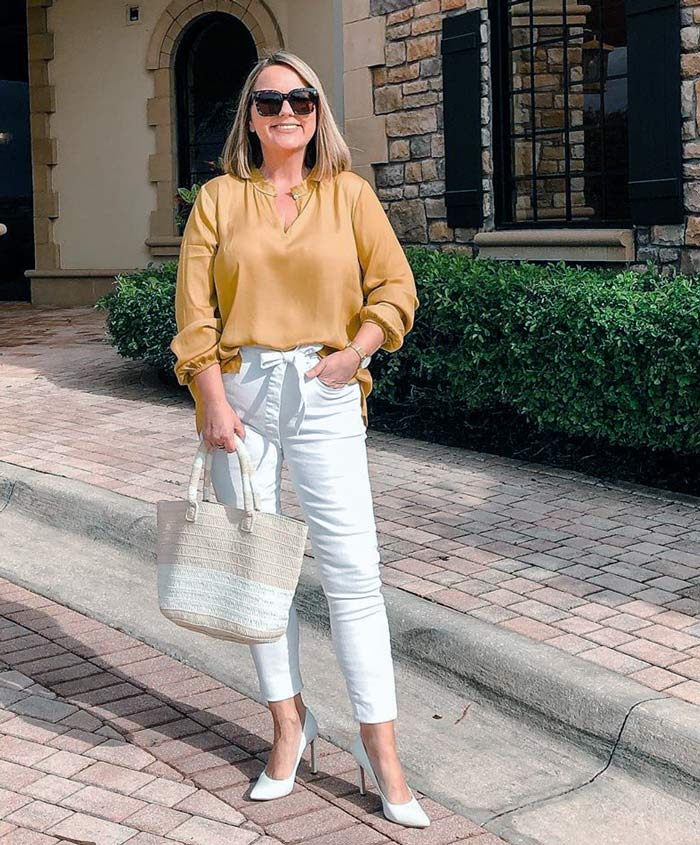 Wearing a yellow top and white pants for Easter | 40plusstyle.com