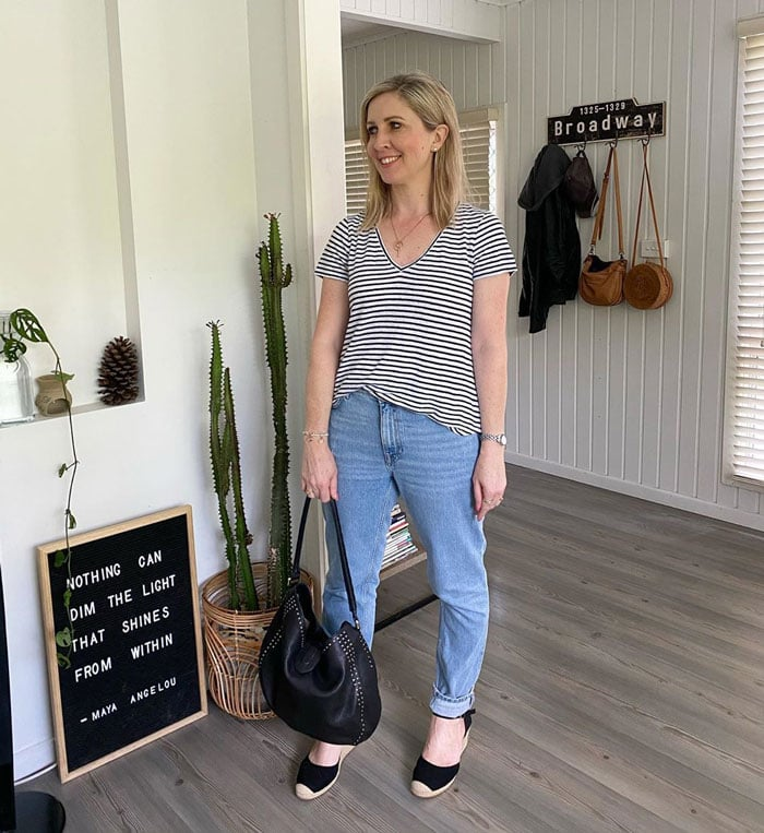 a striped tee and jeans for the natural style personality | 40plusstyle.com