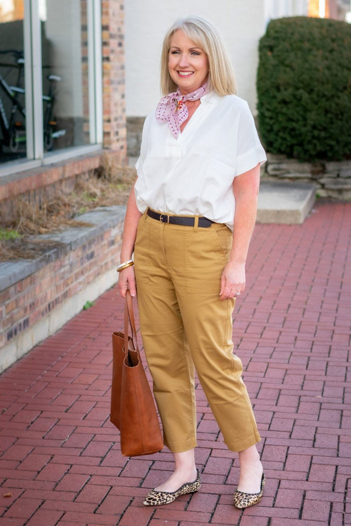 adding style to your chinos and shirt outfit with a scarf | 40plusstyle.com