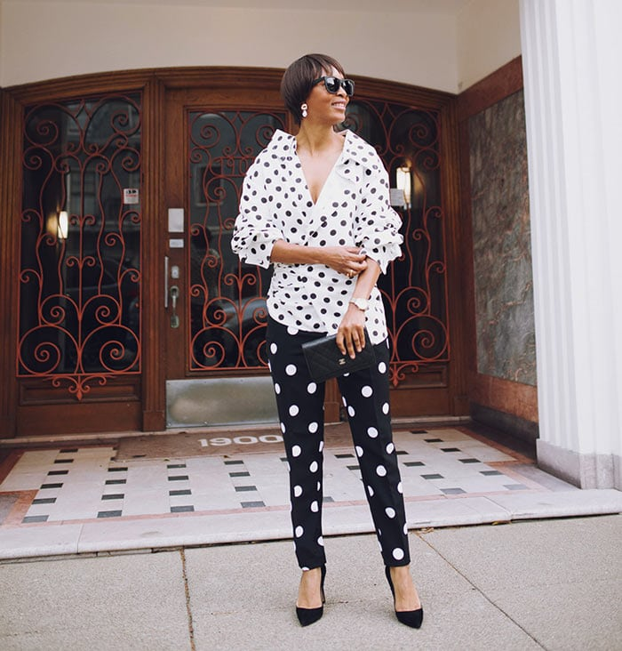Polka pants and blouse   40plusstyle.com
