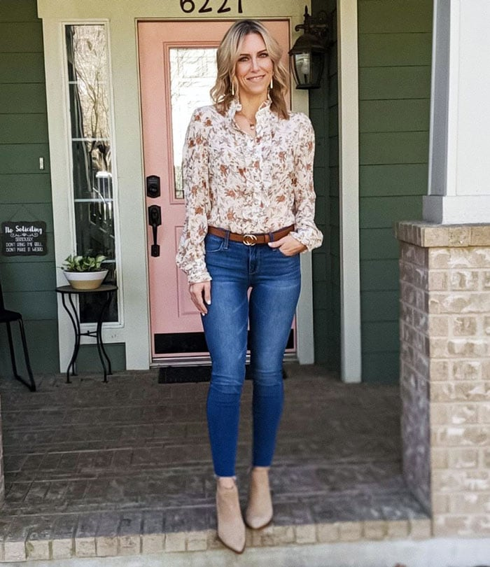 A floral shirt with your jeans | 40plusstyle.com