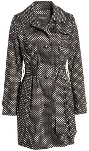 London Fog polka dot trench coat | 40plusstyle.com