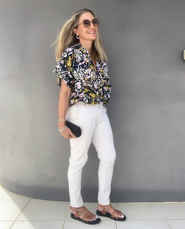 a floral top and jeans | 40plusstyle.com