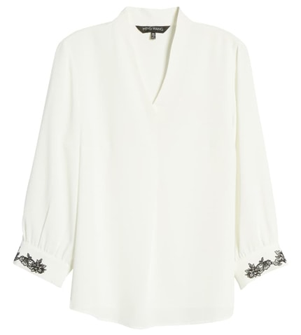 Ming Wang embroidered cuff tunic | 40plusstyle.com