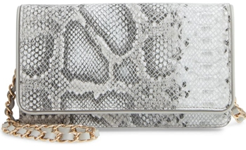 Nordstrom snakeskin print leather clutch | 40plusstyle.com
