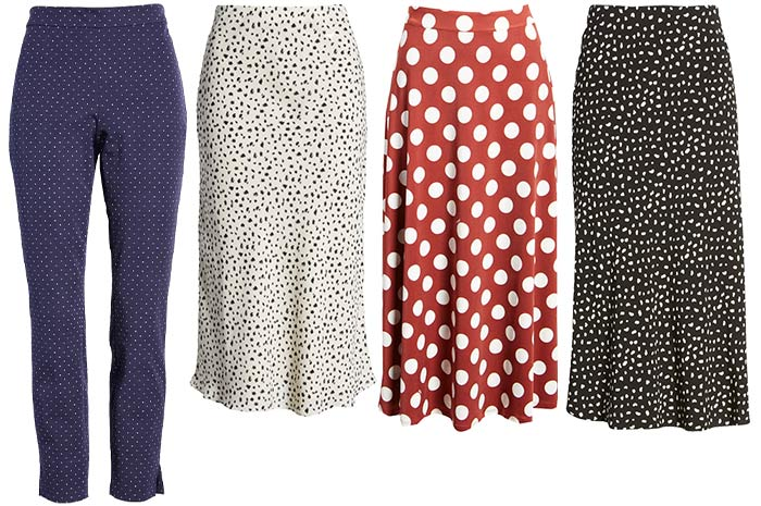 Polka dot pants and skirts   40plusstyle.com