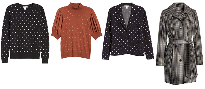 Sweaters, coats & cardigans dot prints | 40plusstyle.com