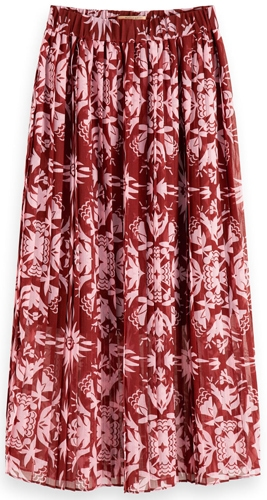 Red printed elastic waist skirt by Scotch & Soda   40plusstyle.com