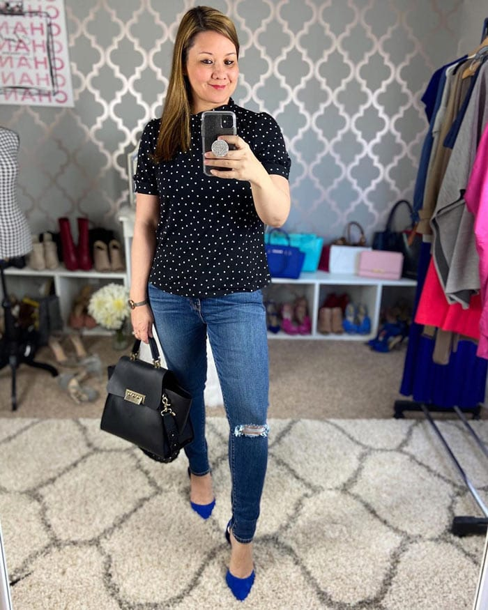polka dot outfits - top with jeans   40plusstyle.com