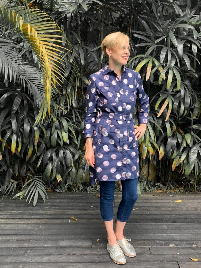 Wearing a short Kenzo dress over cropped leggings   40plusstyle.com