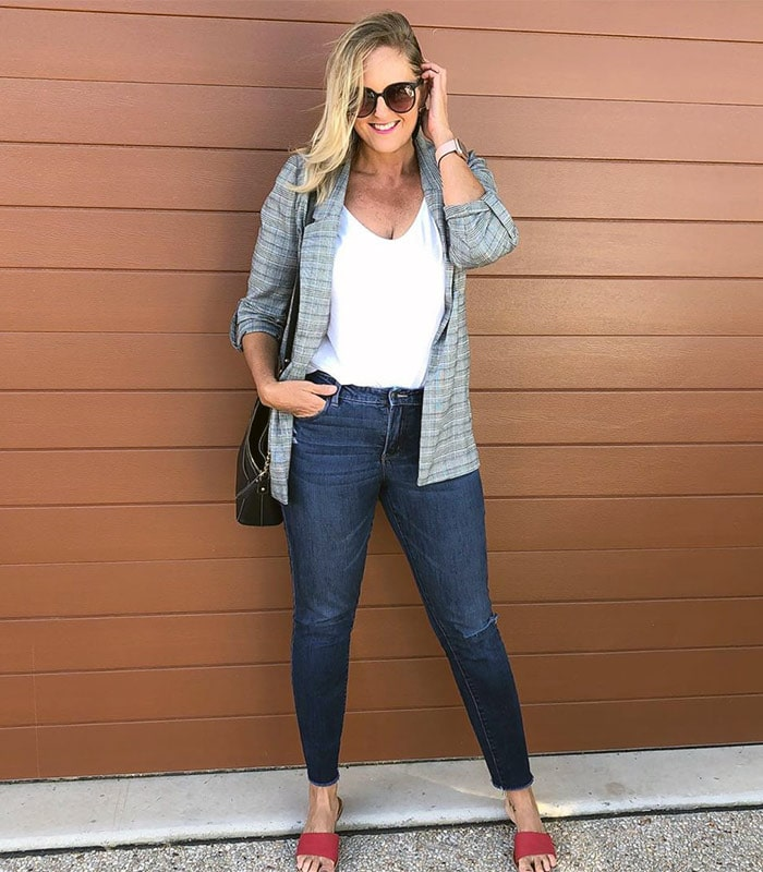 The natural style personality in a blazer and jeans | 40plusstyle.com