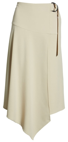 Vince Camuto belted asymmetrical skirt | 40plusstyle.com