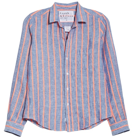 stripes are flattering when you are short or petite - Frank & Eileen stripe linen shirt | 40plusstyle.com