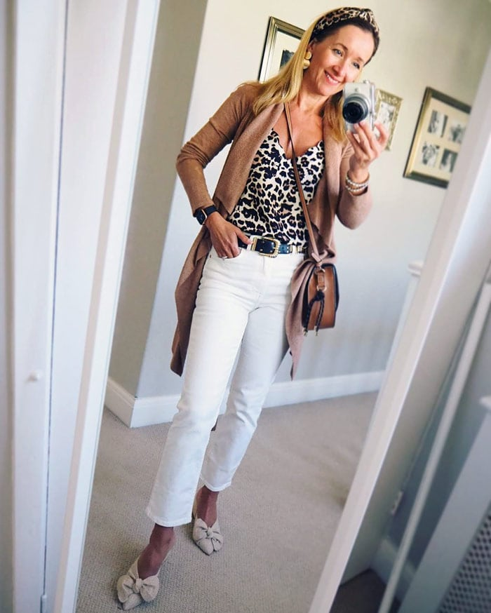 white jeans with leopard print and beige | 40plusstyle.com