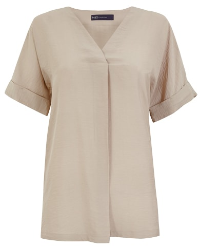 Marks & Spencer logline popover blouse | 40plusstyle.com