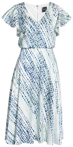 Maison Tara blouson midi dress | 40plusstyle.com