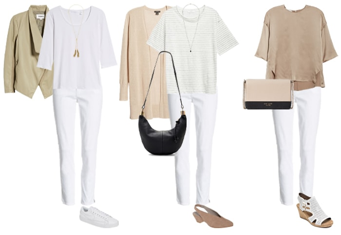 wearing white jeans with other neutrals | 40plusstyle.com