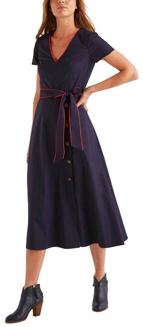 Boden button detail dress | 40plusstyle.com