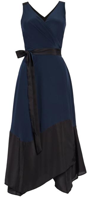 Club Monaco colorblock silk wrap dress   40plusstyle.com