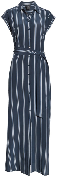 Club Monaco stripe silk maxi shirt | 40plusstyle.com