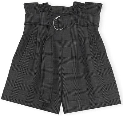 Ganni plaid paperbag waist shorts | 40plusstyle.com