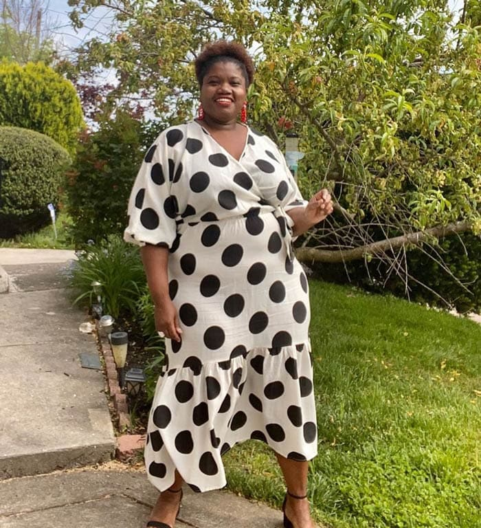polka dot wrap dress   40plusstyle.com