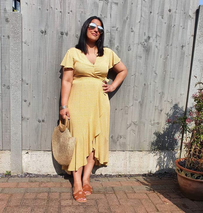 yellow midi dress outfit | 40plusstyle.com