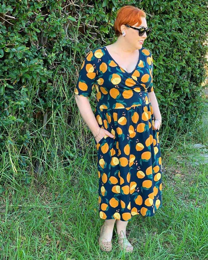 fruit print faux wrap dress   40plusstyle.com