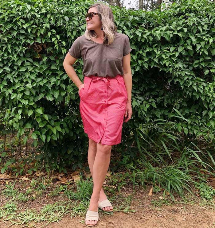 pink and neutrals outfit | 40plusstyle.com