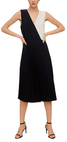 Mango pleated bicolor dress | 40plusstyle.com