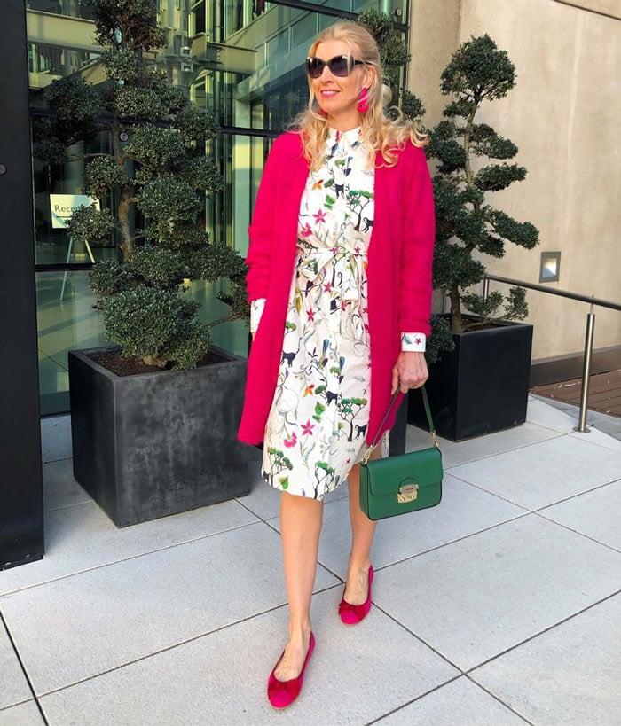 shirt dress and bright coatigan   40plusstyle.com