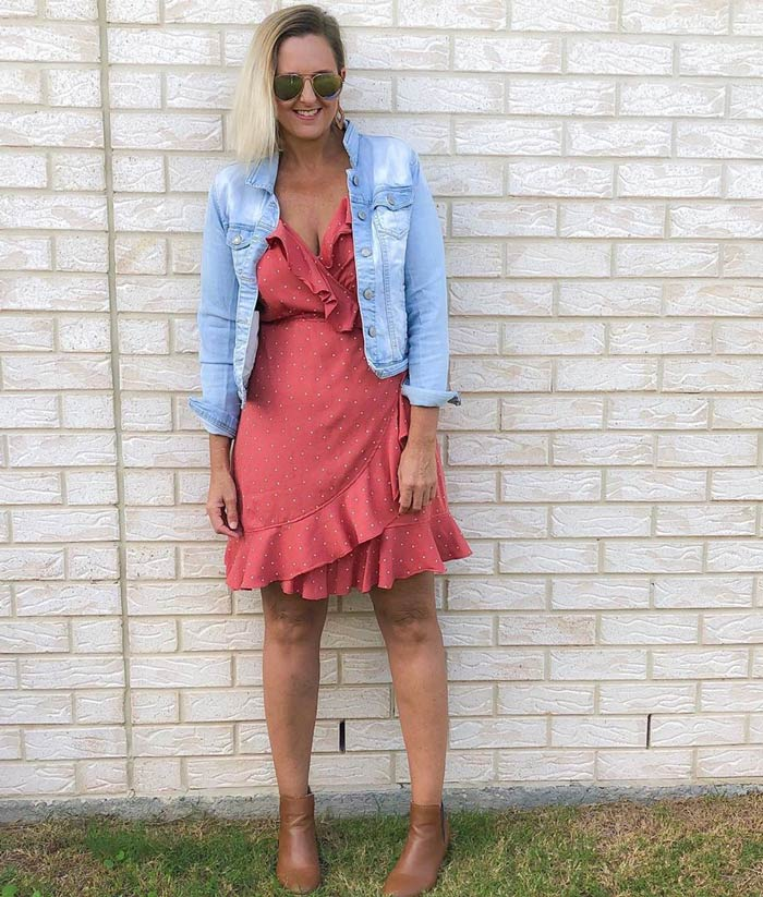 wrap dress with a denim jacket   40plusstyle.com