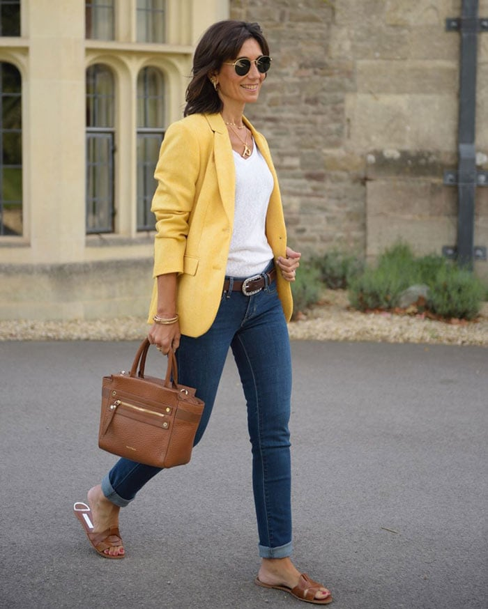The perfect yellow blazer | 40plusstyle.com